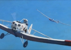 """""""Thanks for the tow, Doc"""", oil, 24 x 8ins"""