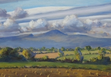 Lenticular clouds above Pen Y Fan, oil, 31 x 12 ins
