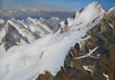 ... and so we arrive at the Glacier Blanc., oil, 16 x 12 ins