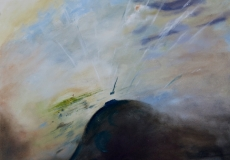 Landing into the evening sun at Talgarth, oil, 20 x 16 ins