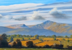 Morning light on the Beacons, oil, 32 x 12 ins